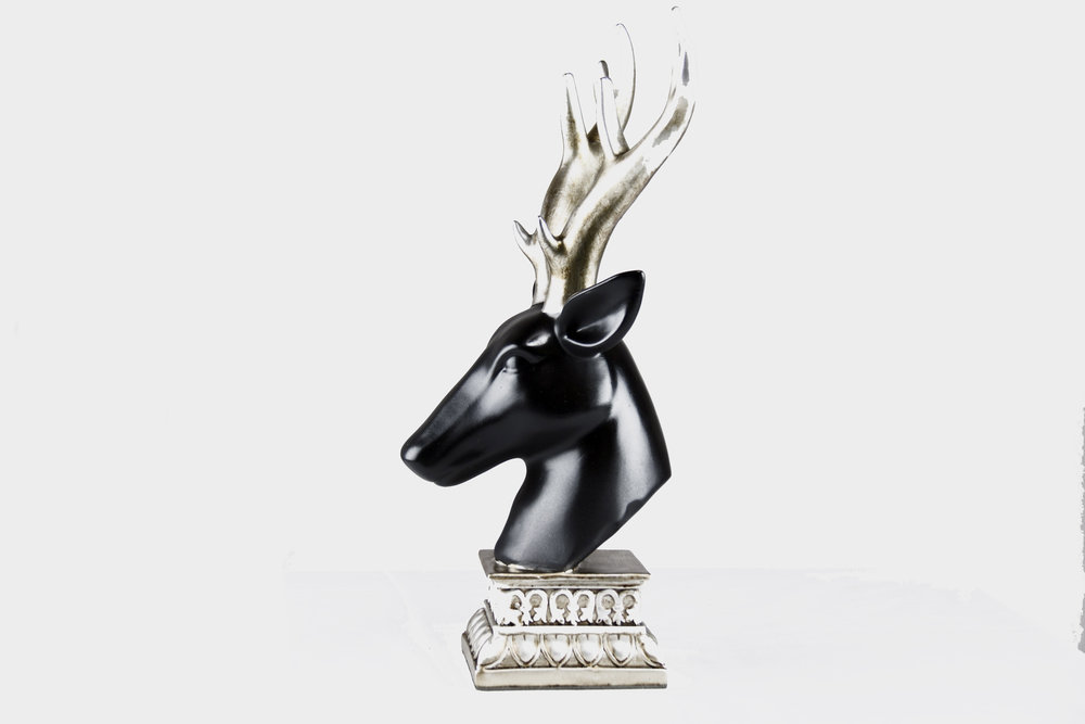 Decorative, Silver Horn Deer Bust, with Stand -Black, Silver, Gold Accents - Left.jpg