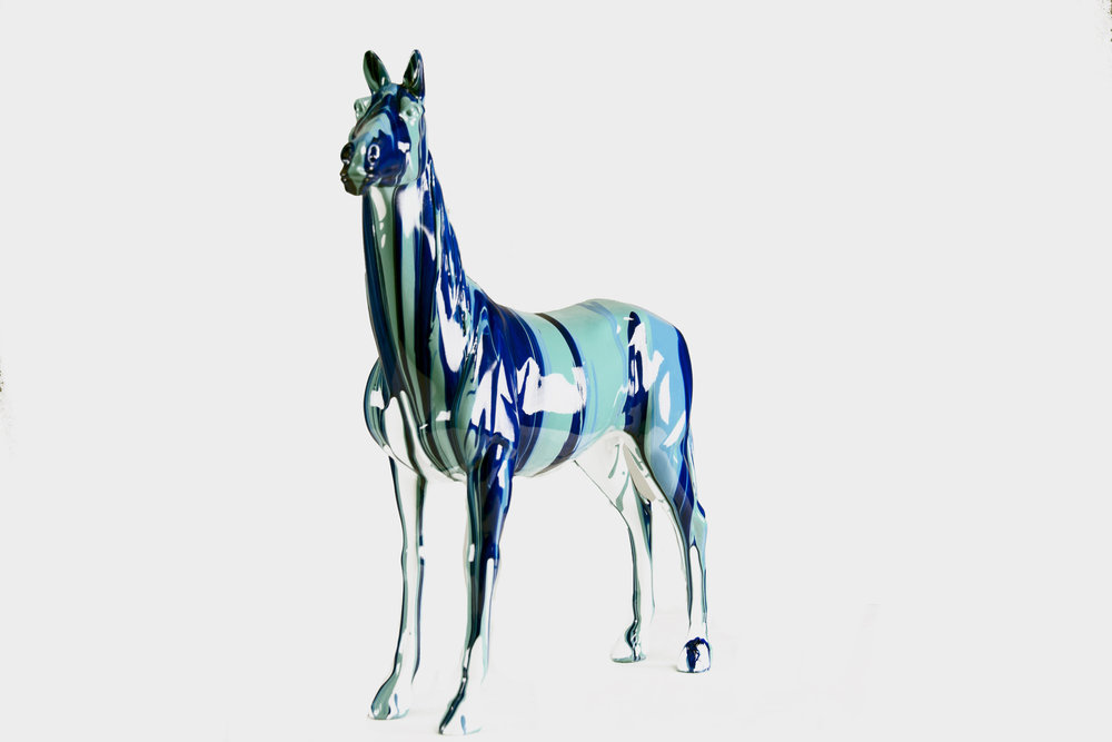 Statue Decorative Figurine of a Stallion -Blue - Profile.jpg