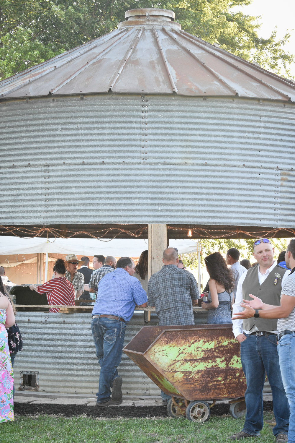 Central Illinois Backyard Wedding Grain Bin Bar