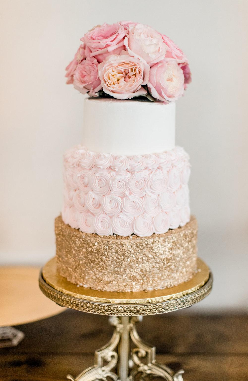 Pink Garden Rose Cake Topper Cakes by Lori J.Blu Design Florist