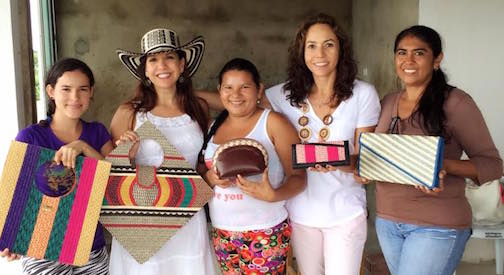 Marcela and her childhood friend Gloria with women artisans in Sucre, Colombia.