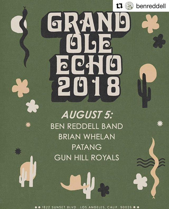 #Repost @benreddell ・・・ Catch us on the patio this Sunday at the Grand Ole Echo!