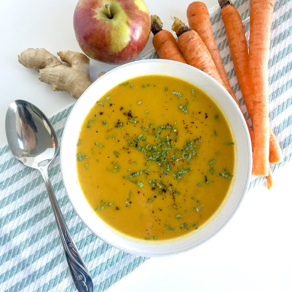 Curried Carrot, Apple & Ginger Soup