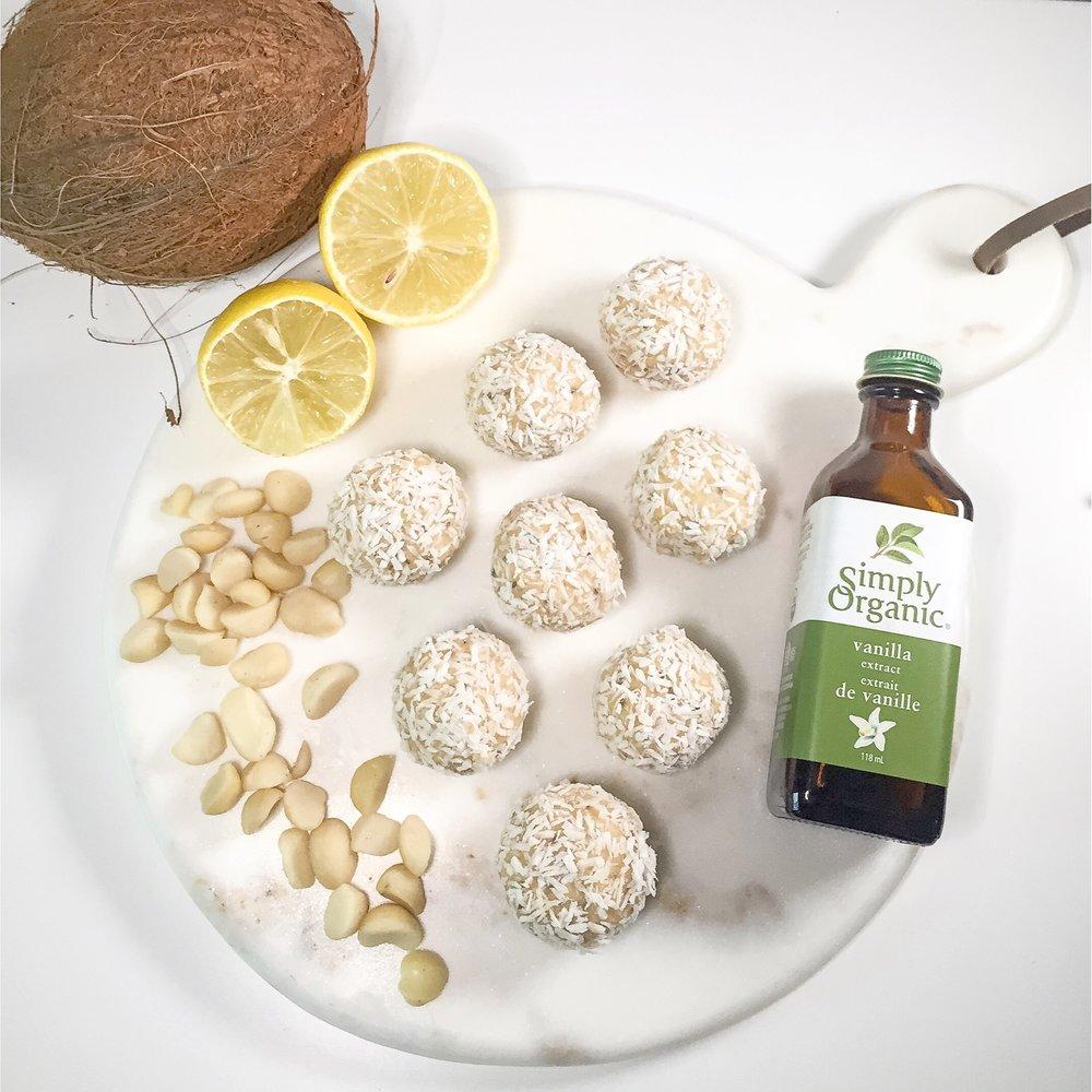 Lemon Coconut Cheesecake Protein Balls