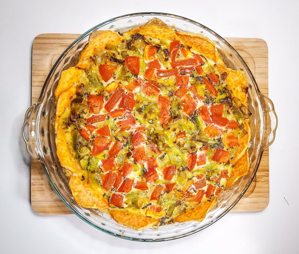 Leek & Tomato Quiche with Crispy Sweet Potato Crust