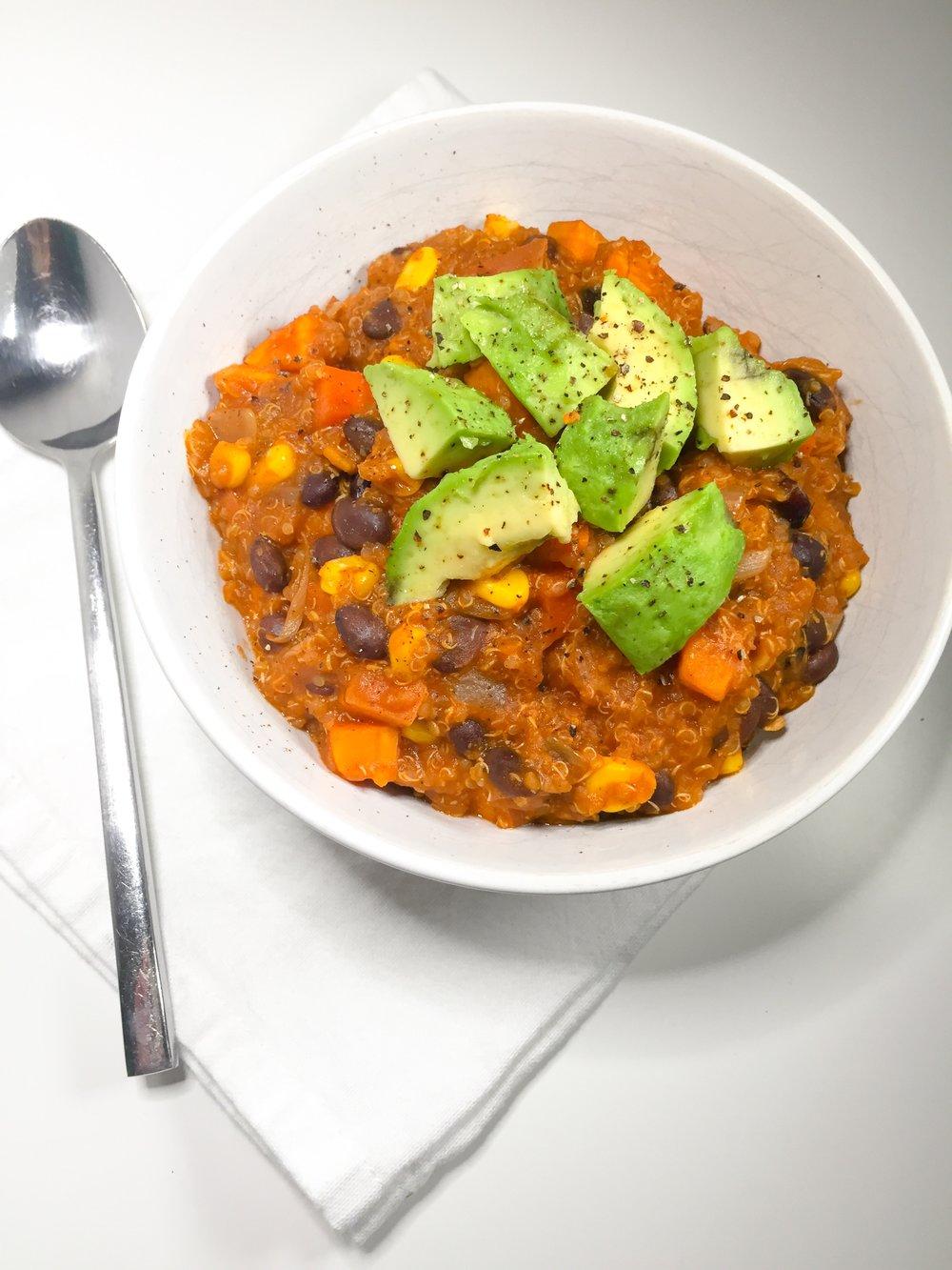 Sweet Potato & Black Bean Quinoa Chili