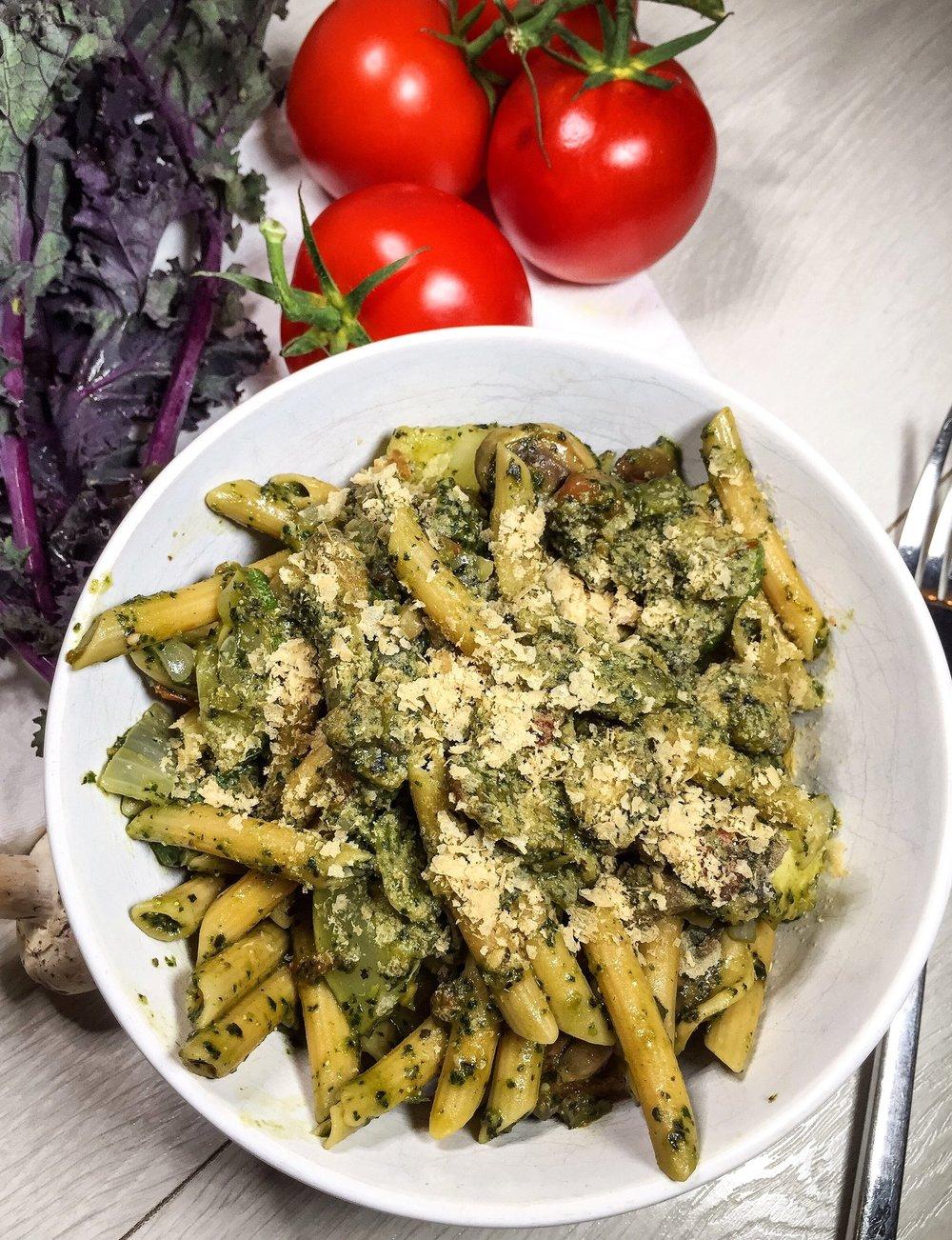 Plant Powered Pasta with Kale Pesto