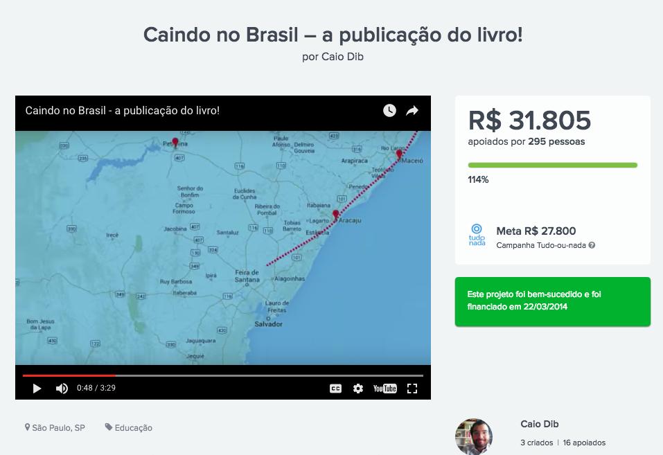 Campanha do livro Caindo no Brasil no Catarse