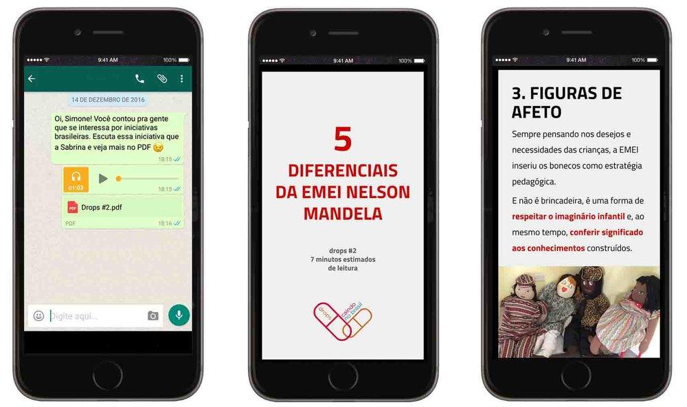 Exemplo de conteúdo do Drops 2, sobre a EMEI Nelson Mandela (São Paulo-SP)