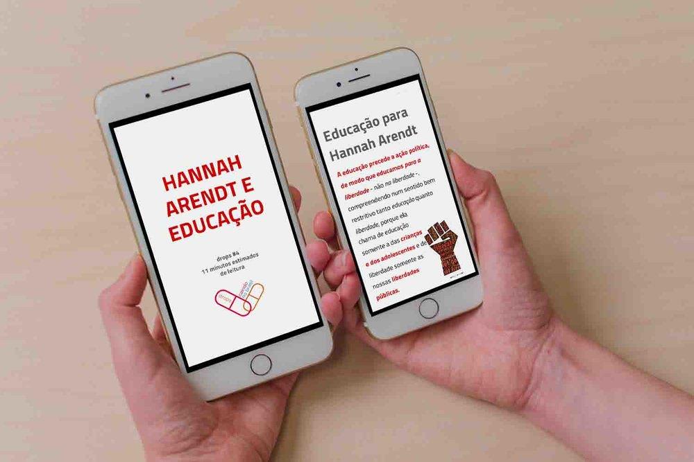 Exemplo de conteúdo do Drops Especial Pé Na Escola, sobre Hannah Arendt e Educação