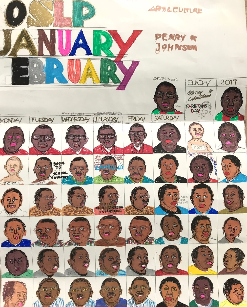 OSLP Janurary/February Calendar , Perry Johnson, 2015, marker on paper, 19 x 41 inches. On view November 17, 2017 - February 25, 2018 as part of Libby Werbel's year-long program at the Portland Art Museum: We.Construct.Marvels.Between.Monuments.