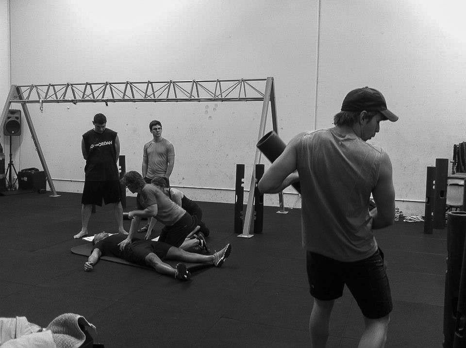 Me using a ViPR as a cricket bet...guy in background is ok...the boys are just going trough psoas release