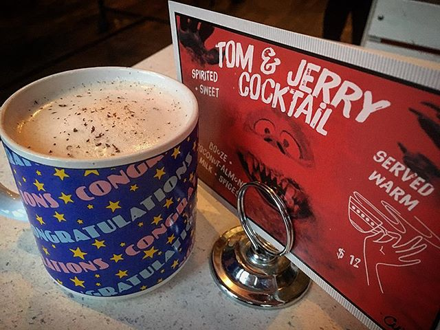 HOT⚡️HOT⚡️HOT #tomandjerry . . . + Doctor Bird Jamaica Rum + Grand Brulot + Gourry de Chadeville + Overproof Cognac + Sapins 55 + sweet egg batter + coconut/almond milk + heat + nutmeg + your mouth