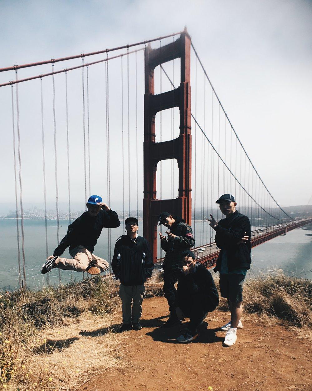 Golden Gate bridge with matt action, wing zero, issei, and milhouse