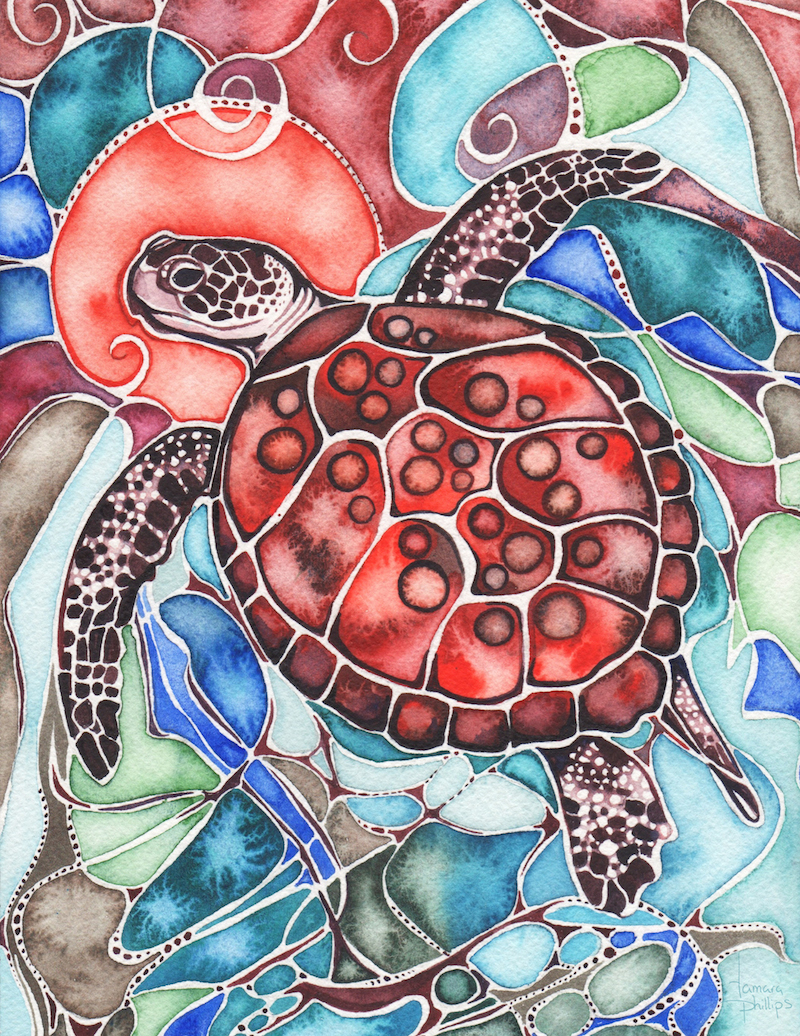 "Sea Turtle 7"" x 10"" watercolour"