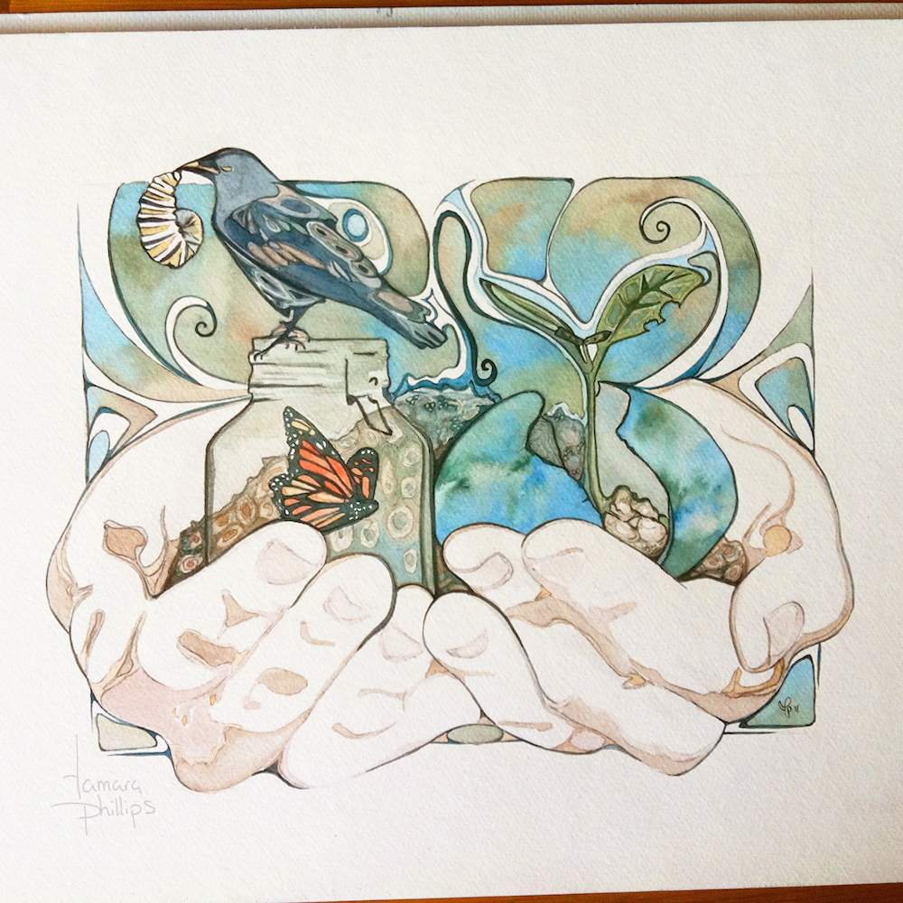 """Cyclical"" watercolour: 2011. Reflections: 2018"