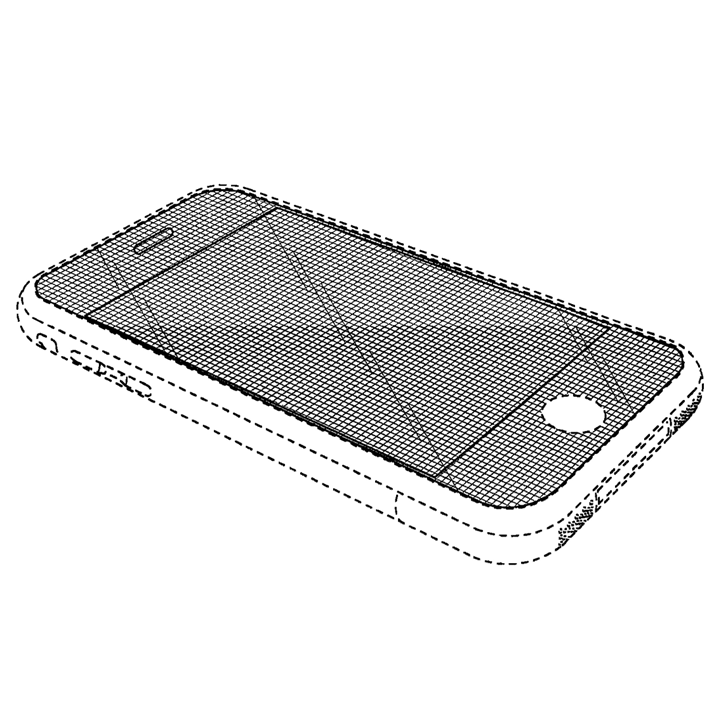 One of Apple's iPhone design patents, featuring a black rectangle shape with rounded corners.