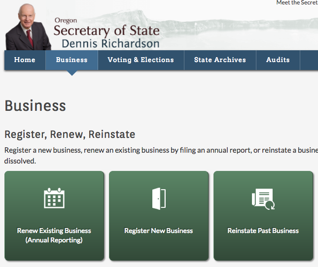 "Your state's Secretary of State website will have a ""Business"" section where you can register your business name."