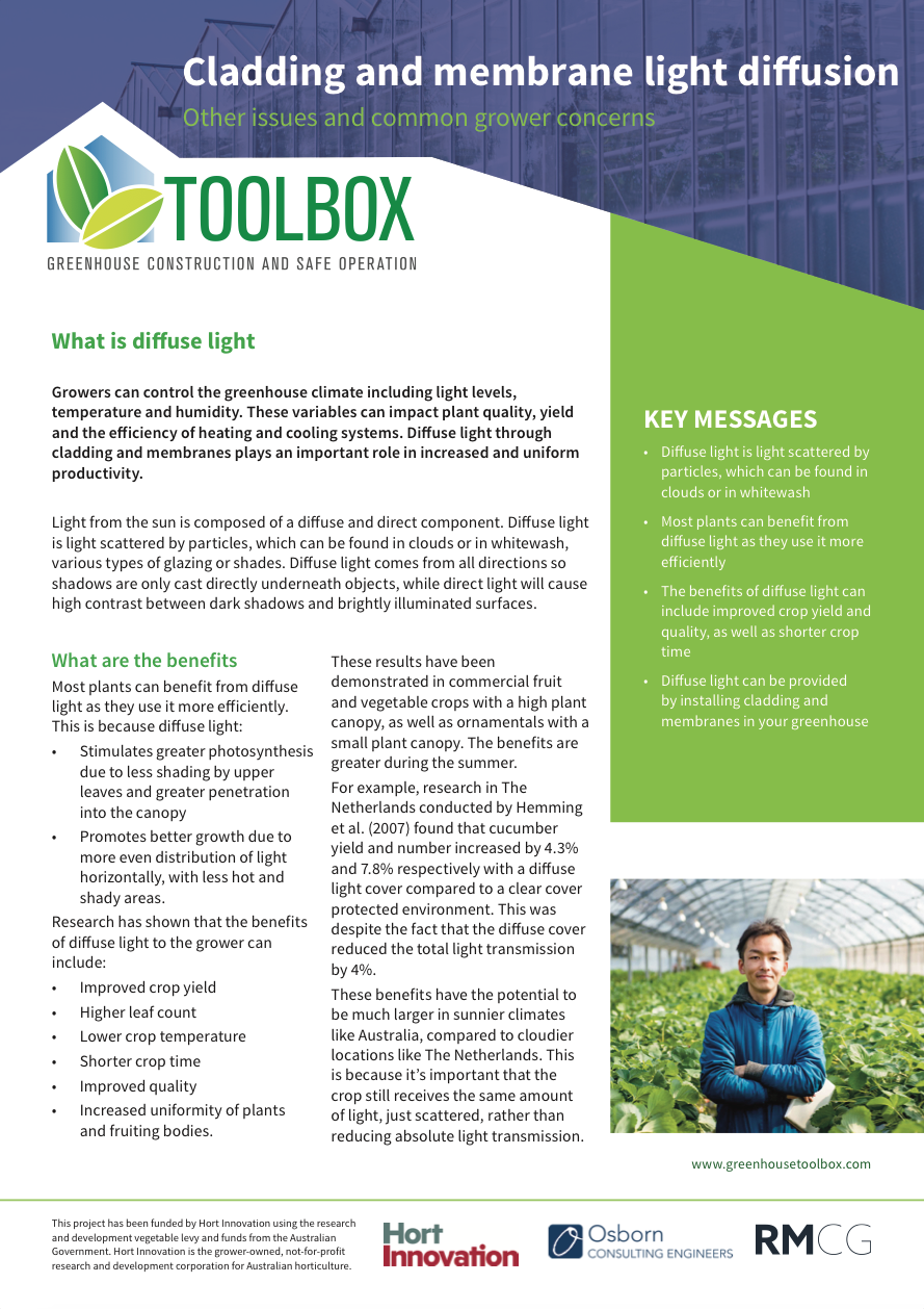 Cladding and membrane light diffusion — Toolbox for