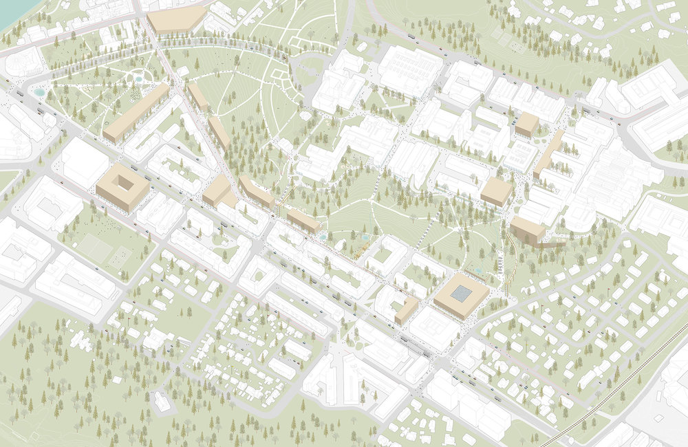 NTNU Campus, Trondheim — Axonometric of proposal.