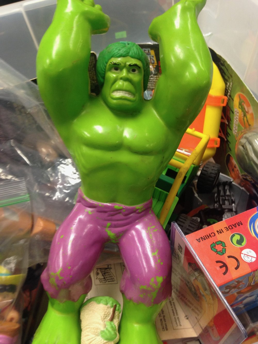 """Hulk been in plastic bin for over decade! Please take Hulk home!"""