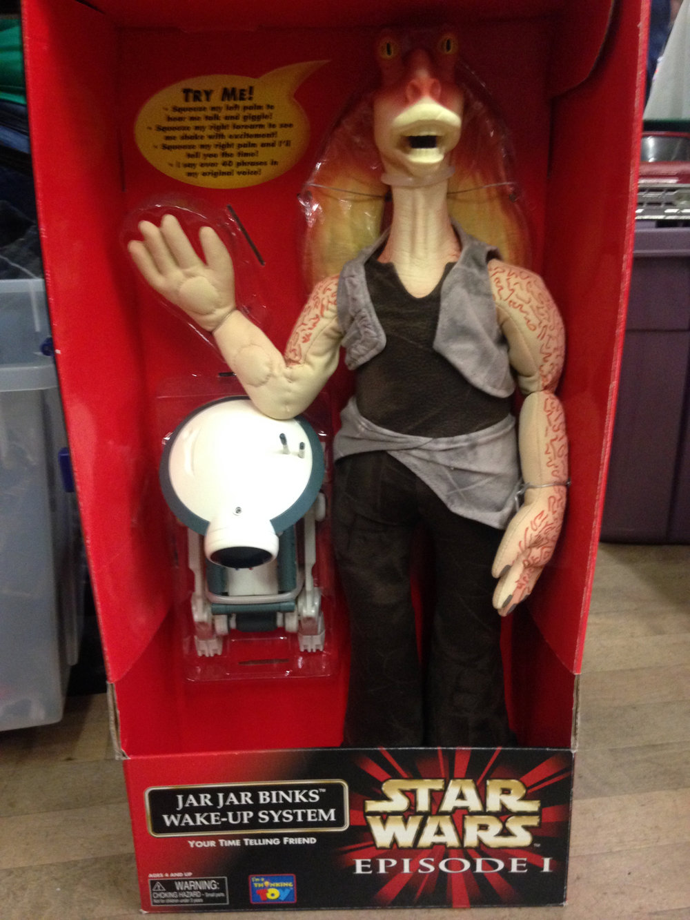 """Wakey wakey yousa little Jedi! Itsa time to AAAGH Wowee Patooey, Meesa being strangled!"""
