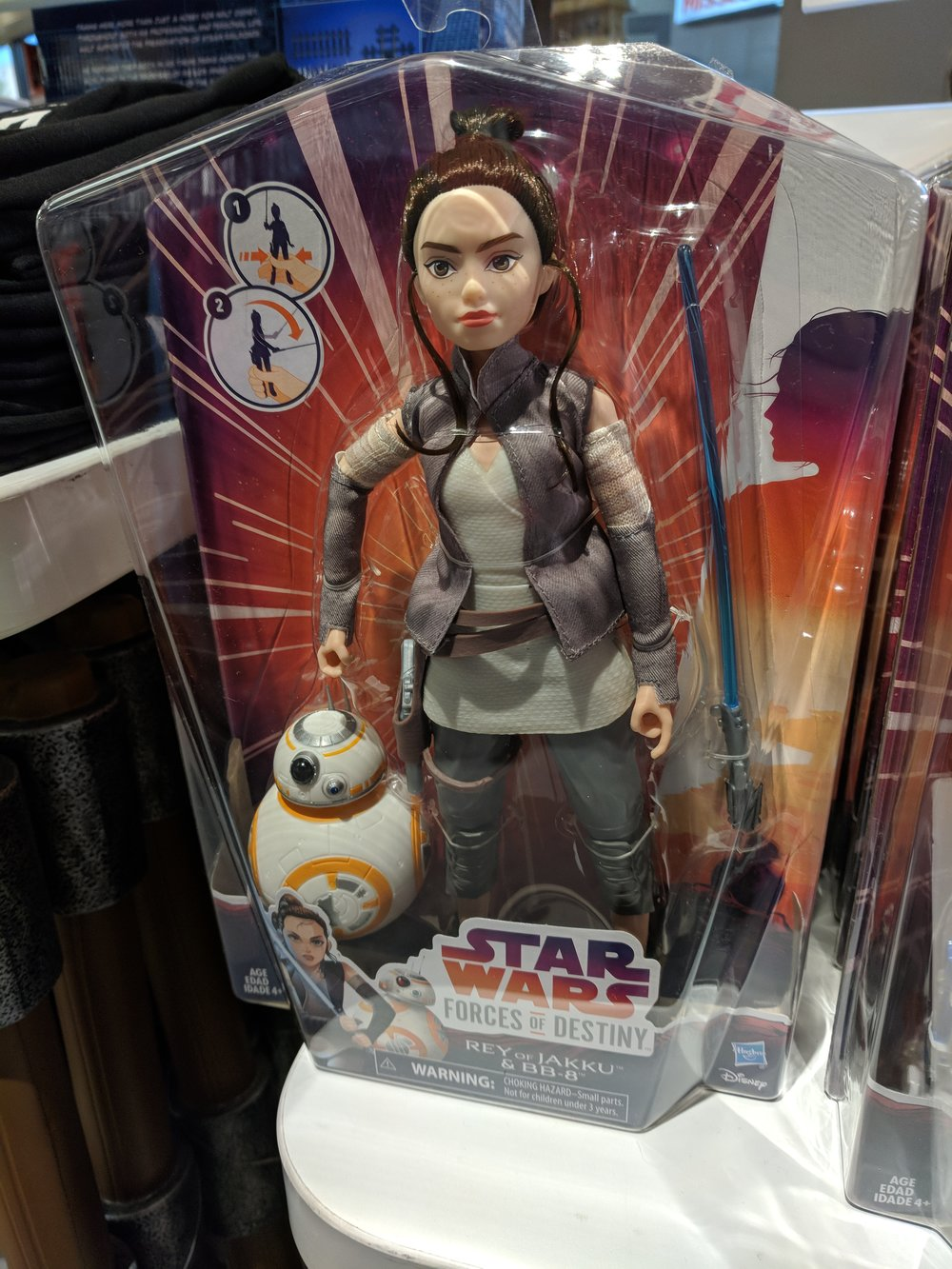 Rey with BB-8! Squeeze her legs together and she wields her lightsaber