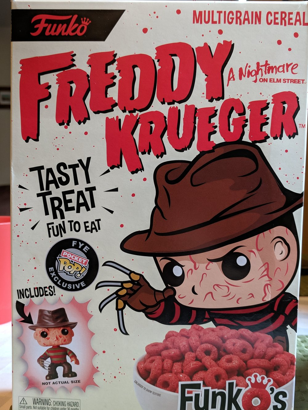 Freddy's looking at the cereal as if it's a bowl full of souls and I love it