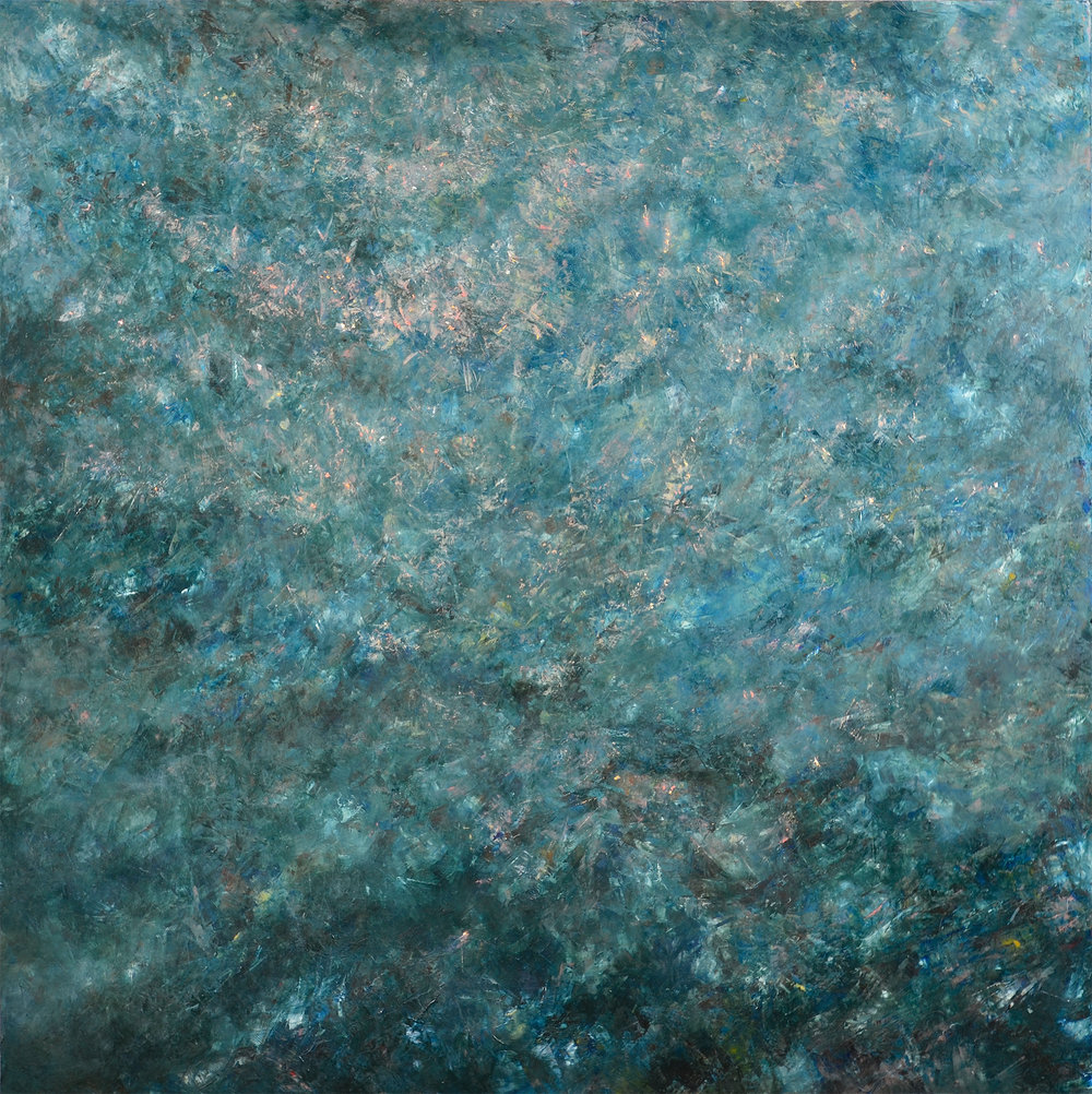 Tresaith Sea, oil on hardboard 120 x 120 cm, 2015