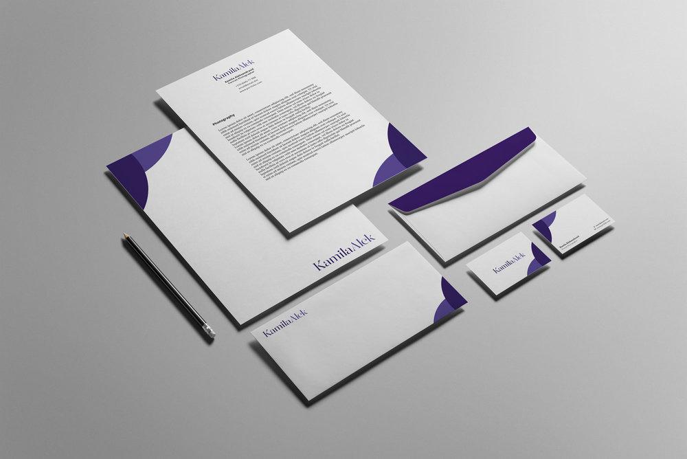Brand identity design for 'Kamila Alek' brand.