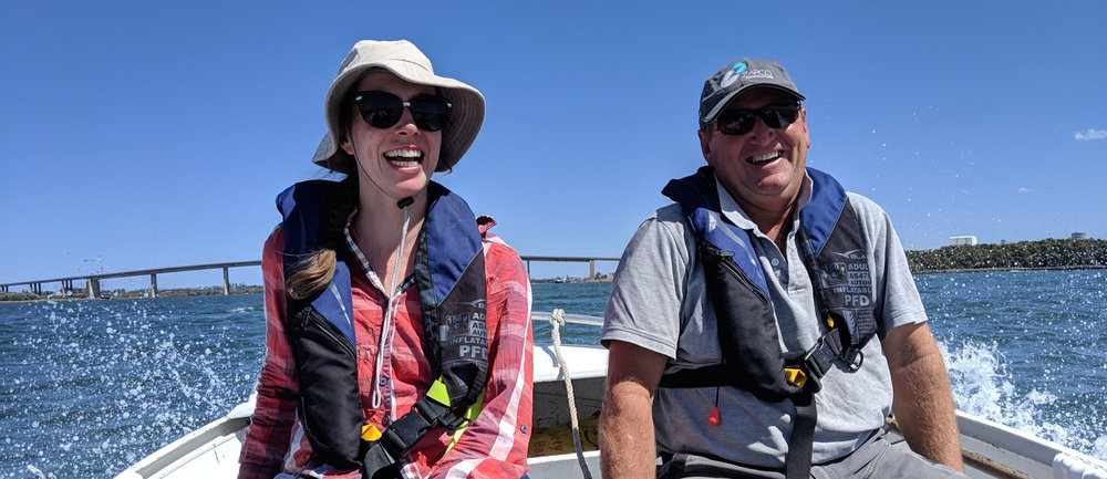 BirdLife's Emily Mowat and Zapco's Tim Brown on the SS HLLS skippered by Gavin Farley