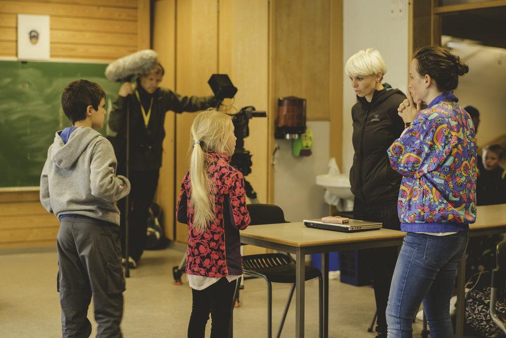 Under filming på Aspåsen skole i Bodø. Foto: Anne-Marte Før/Lukkeleik