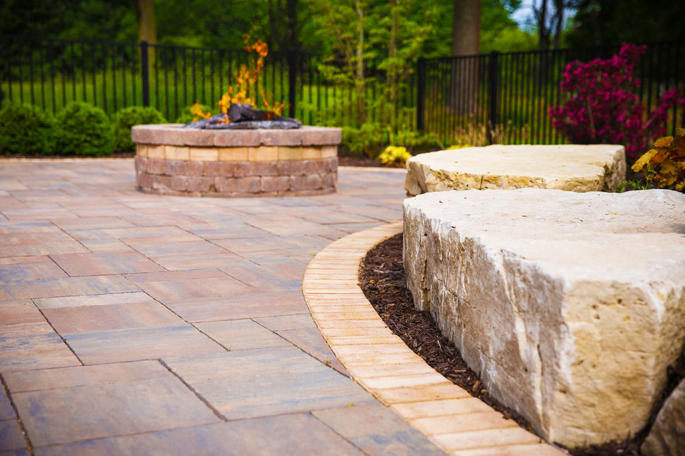 Stone Fire Pit and Permeable Walkways Portsmouth NH