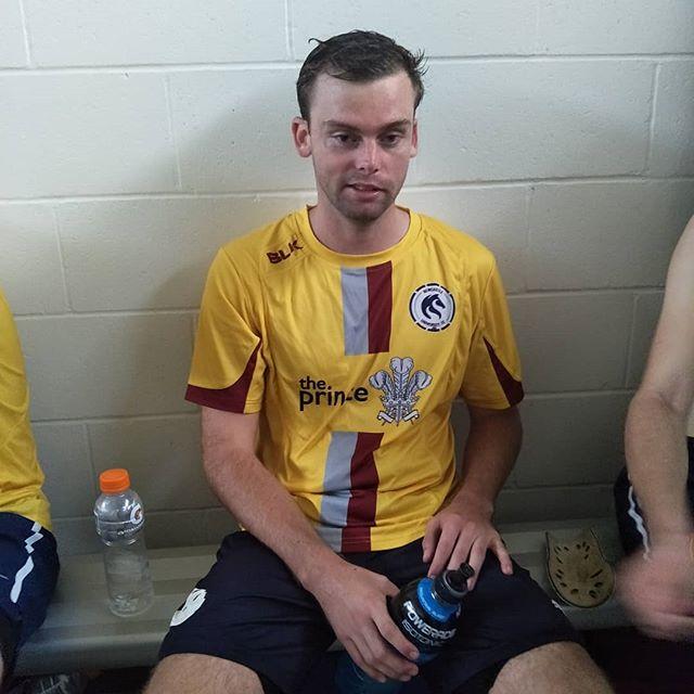 Defeated man @garthtuckett celebrates the win after a good game. #cleansheet #5nil #unifc #walkingdead