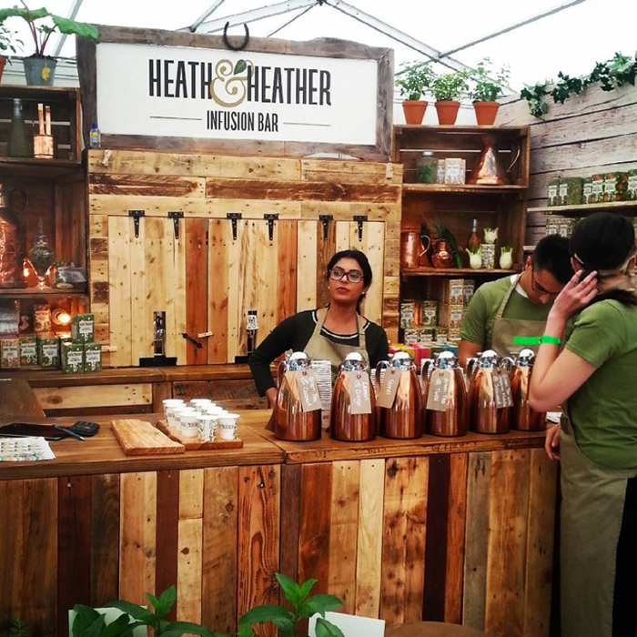 Heath & Heather's stand made from reclaimed materials