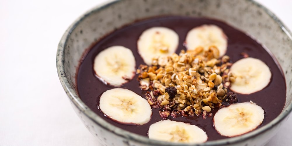 Beautifully understated Acai breakfast bowl by Brazilian-born chef Marcello Tully / Great British Chefs