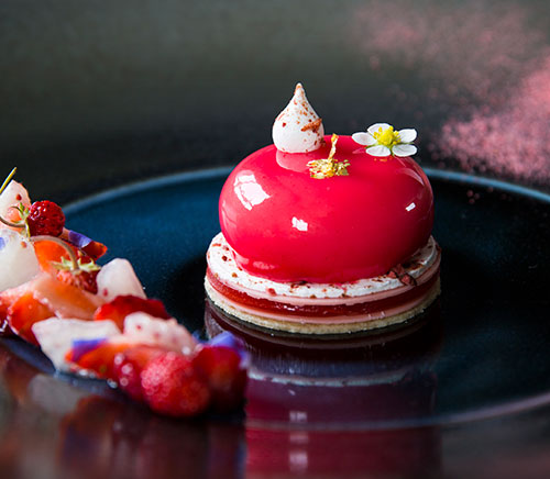 Elderflower mousse and strawberry dessert by Claire Clark and Sarah Crouchman via The Caterer