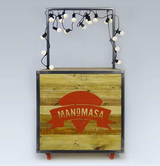 Reclaimed wood sampling unit for tortilla brand  Manomasa .