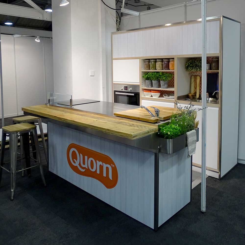 Our  Pop Up Cookery Demo Kit  rental package, set up and styled for  Quorn Food 's packed experiential exhibition stand at Casual Dining 2018
