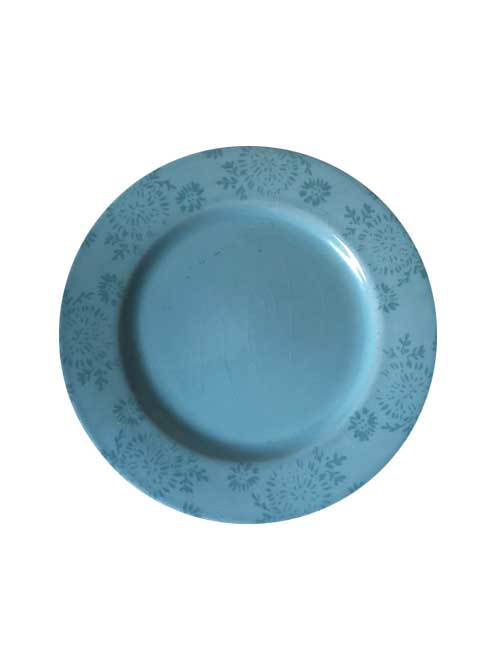 Vintage Blue Plate with Floral Detail