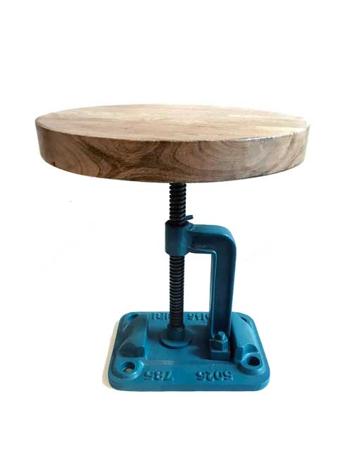 Industrial Stool with Wooden Seat and Blue Metal Base