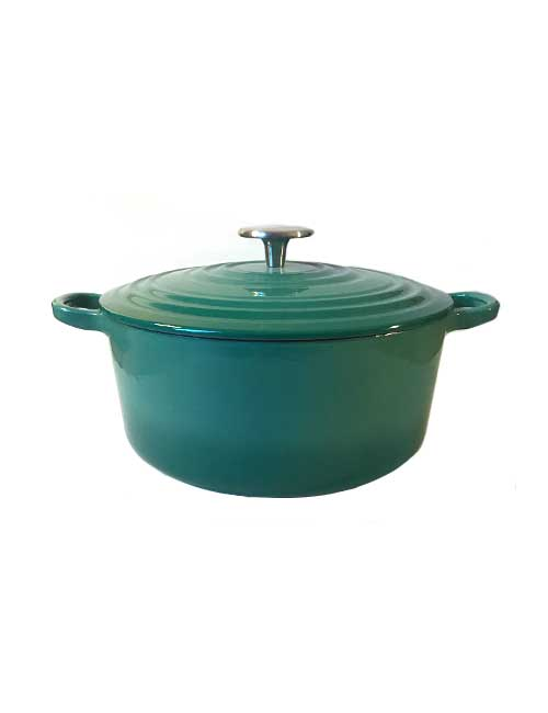 Teal Cast Iron Saucepan with Lid
