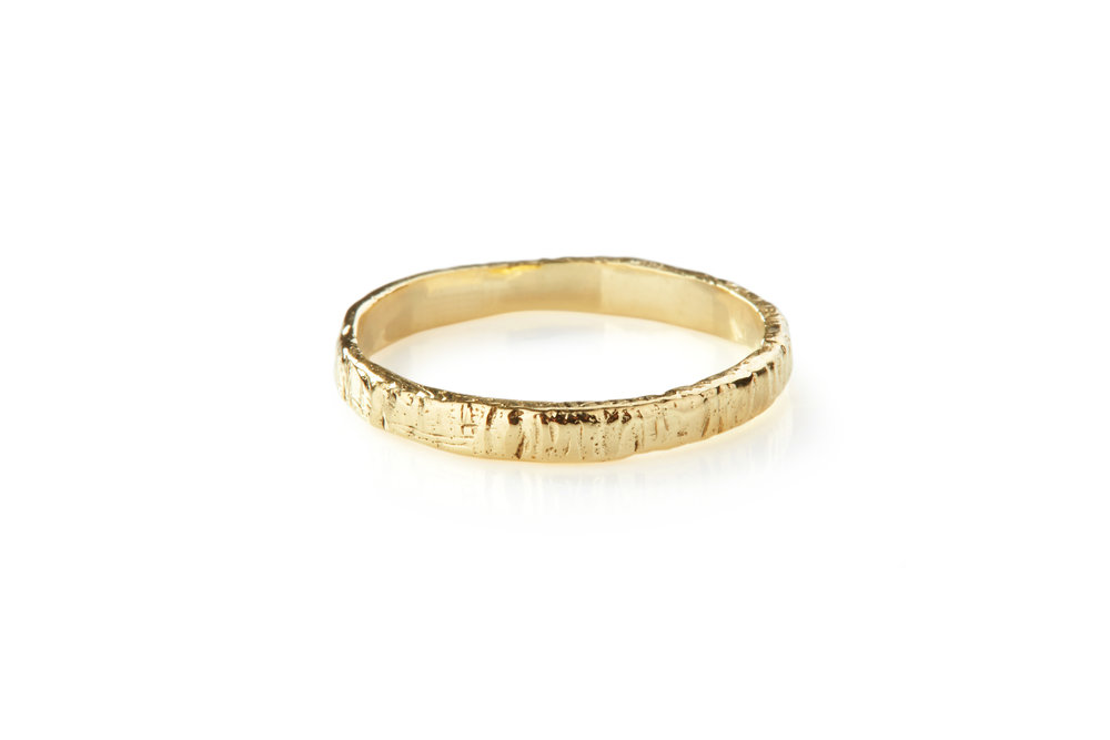 TEXTURED WEDDING BAND - 18CT YELLOW GOLD