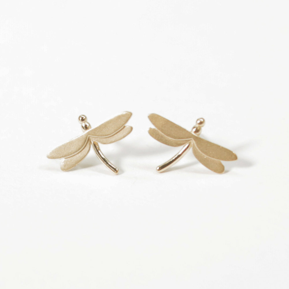 9ct yellow gold dragonfly stud earrings