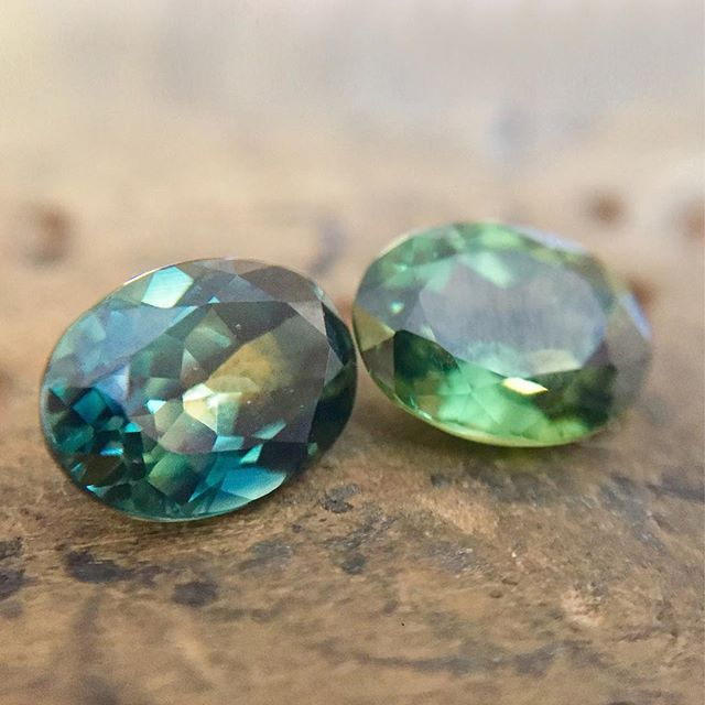 Looking forward to designing a bespoke ring for one of these dreamy Parti sapphires...which one would you choose? ~ ~ ~  #sapphire #parti #green #teal #oval #bespoke #gemstones #engagementring #goldsmith #sapphirering #bespokejewellery #bespokering #bristol #bespokejewels #gem #precious