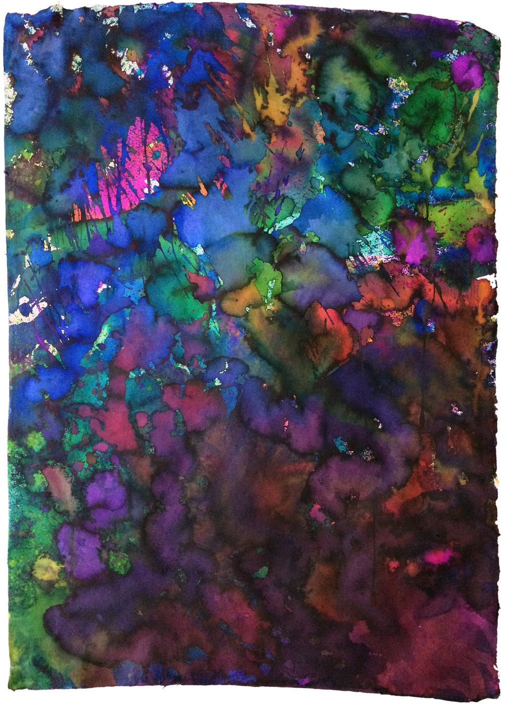 Black   57 x 80 cm Liquid dye on paper 2017