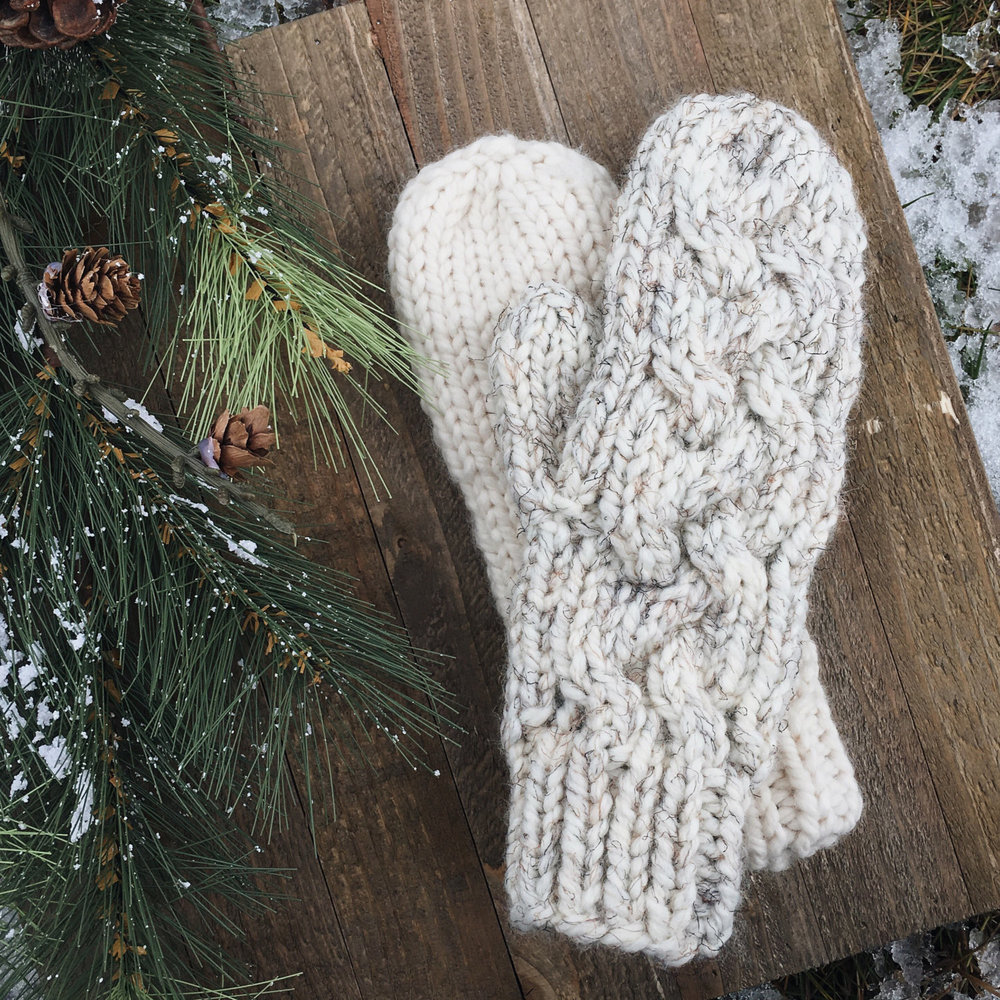 The Timberline Braided Cable Knit Mittens Northern Loop