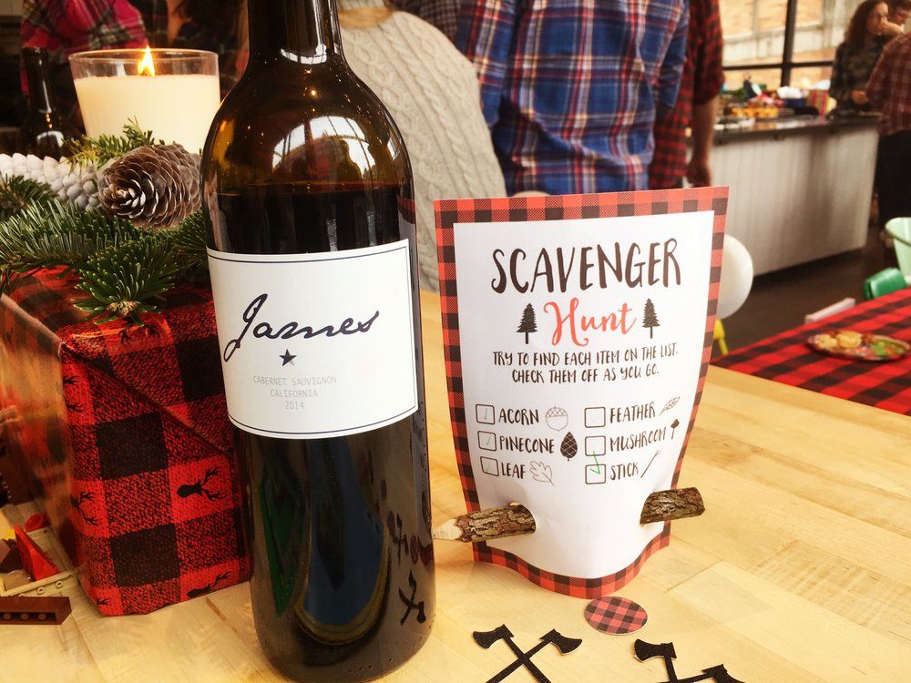 Scavenger Hunter, James labeled wine and lumberjack confetti