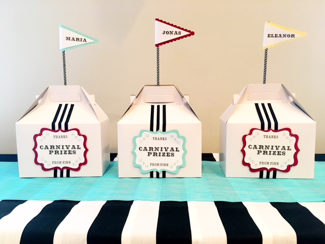 Carnival Favor Boxes and Personalized Flags