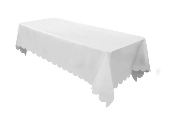White Scalloped Woven Tablecloth